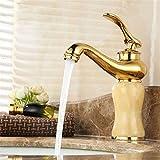 Hlluya Wasserhahn für Waschbecken Küche Die Jade Gold-Kupfer antik Waschtisch mit Kalt- und Warmwasser Waschtisch Armatur Bad Wong Yuk Rose Gold antik Waschbecken,