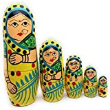 Craft Hand Traditional Indian Nesting Wooden Doll/ Hand Painted Matryoshka Stacking Dolls- Set Of 5 Piece (Lady In Yellow Saree)
