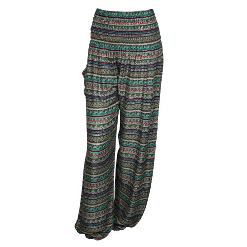 HAREMSHOS'ALADDIN-HIPPIE-HOSE MIT 18 VERSCH. DESIGNS Striped Greens