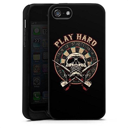 Apple iPhone X Silikon Hülle Case Schutzhülle Dart Totenkopf Play Hard Tough Case matt