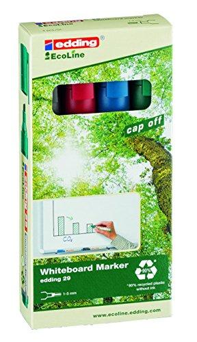 edding 29-4-S - Caja de 4 marcadores para pizarras blancas con punta redonda, tinta casi sin olor, Grosor de trazo 1,5-3mm, color verde, rojo, azul y negro