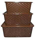 #2: BASKET SET WITH COVER (SMALL, MEDIUM & BIG) BROWN MATTE FINISHING