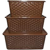BASKET SET WITH COVER (SMALL, MEDIUM & BIG) BROWN MATTE FINISHING