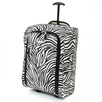 Karabar Super Lightweight Cabin Approved Luggage Bag 55 x 35 x 20 cm, 40 Litres, 1.5 kg, 3 Years Warranty! (1 Piece, Zebra Black) - cheap UK light shop.