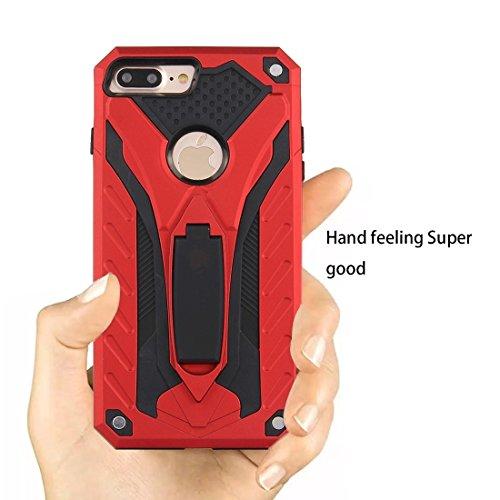 Hülle für iPhone 7 plus , Schutzhülle Für iPhone 7 Plus Tough Armor TPU + PC Kombi-Gehäuse mit Halter ,hülle für iPhone 7 plus , case for iphone 7 plus ( Color : Black ) Red