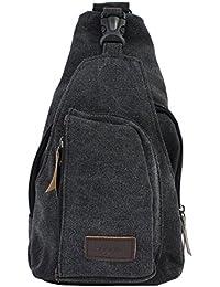 PsmGoods® hombres hombro bolsa de viaje Ocio bolsillo de la lona Senderismo Mochila pecho bolsa Sling Negro