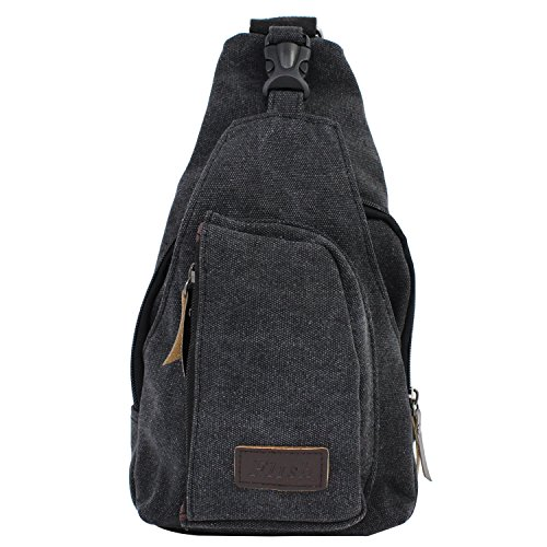 PsmGoods® Männer Umhängetasche Freizeit-Segeltuch-Taschen Reisen Wandern Tasche Rucksack Chest Pouch Sling (Schwarz)