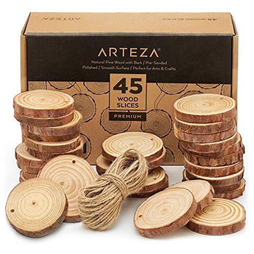 ARTEZA Rodajas madera manualidades | 6-7 cm aprox