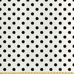 ABAKUHAUS Geométrico Tela por Metro, Lunares Grandes, Satén para Textiles del Hogar y Manualidades, 1M (160x100cm), Blanco Negro