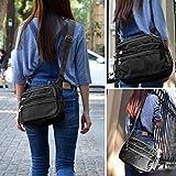NOTAG Damen Umhängetasche, Wasserdicht Nylon Schultertasche Multi-Tasche Messenger Bag 2 Size (Schwarz, L)