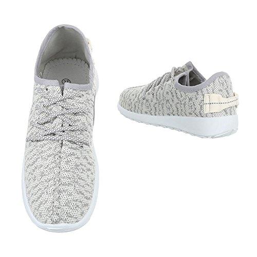 Ital-Design Sportschuhe Damenschuhe Geschlossen Sneakers Schnürsenkel Freizeitschuhe Beige Grau