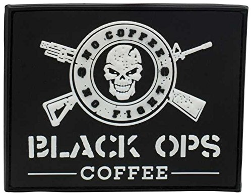 BLACK OPS COFFEE Rubber Patch Schwarz, Schwarz