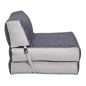 CARO-Möbel Sessel Schlafsessel Gästebett Togo Stoffbezug in Grau Weiss, 70x188 cm Liegefläche klappbare Rückenlehne