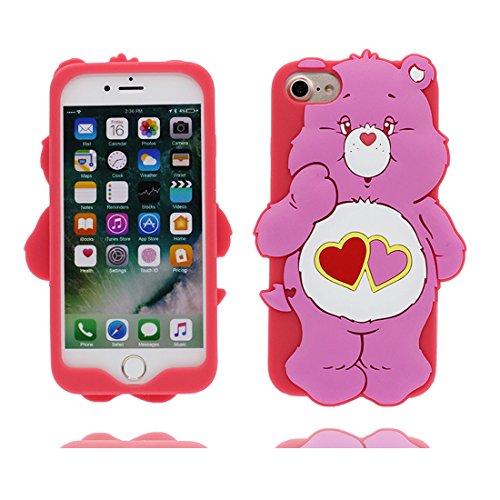 """iPhone 7 Plus Hülle, TPU Dauerhaft Shell Flexible iPhone 7 Plus Handyhülle Cover 5.5"""" Staubdicht grün (Cartoon 3D Bär) Bear Pretty Soft Rose"""