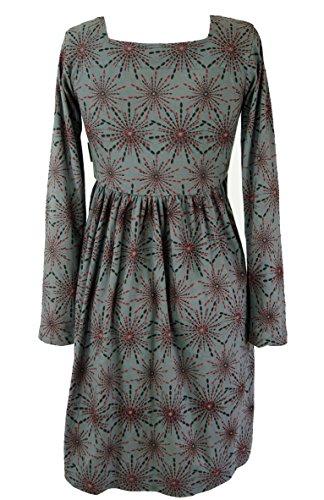 Guru-Shop Hippie Minikleid Boho Chic, Tunika, Damen, Baumwolle, Kurze Kleider Alternative Bekleidung Grau