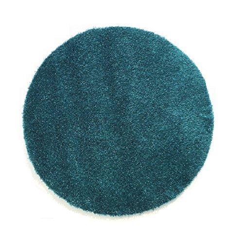 Komfort Shaggy Teppich Badematte Happy Wash rund - waschbar, trocknerund pflegeleicht | schadstoffgeprüft & strapazierfähig | ideal für Bad/Badezimmer, Farbe:Türkis, Größe:200 cm rund