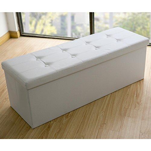 Sitzbank Sitztruhe Sitzhocker Sitzwürfel Fußbank Faltbare Kunstleder (110x38x38, Weiß) Leder Bett-bank