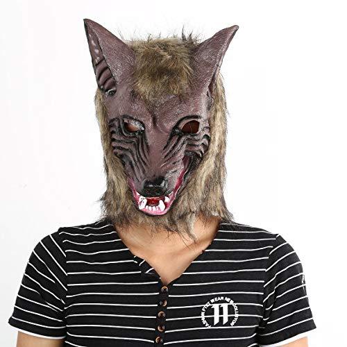 (Kaitoshiratori Erwachsene und Kinder Latex Tier Wolf-Kopf mit Haarmaske Kostüm-Party Scary Halloween mit Grauer Farbe)