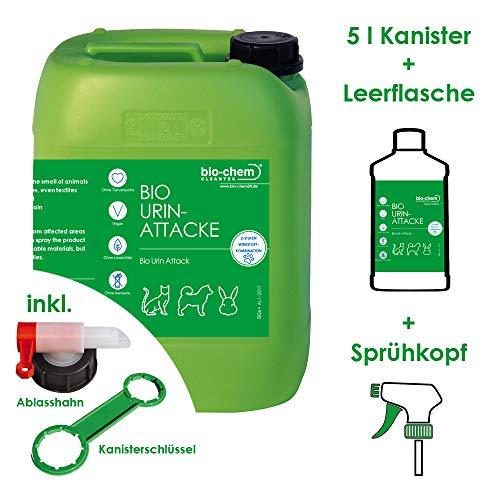 Bio-Chem Bio Urin Attacke Geruchsentferner Katzenurin Hundeurin, Tierurin 5 Liter - Für Katzenurin Teppich-reiniger