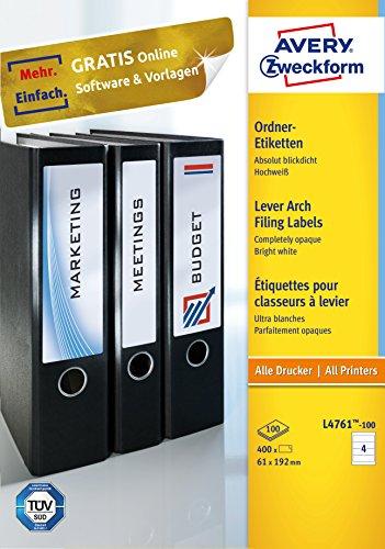 Avery Zweckform L4761-100 Ordnerrücken Etiketten (A4, 400 Rückenschilder, breit/kurz, selbstklebend, blickdicht, 61 x 192 mm) 100 Blatt, weiß