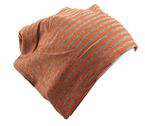 Berretto lungo in jersey, da bambino, unisex, in cotone, a strisce arancione / grigio x-small