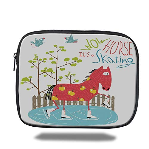 Velvet Ice Skating (Tablet Bag for Ipad air 2/3/4/mini 9.7 inch,Quirky Decor,Wow Its Skating Horse on Ice Amusing Colorful Fun Cartoon for Kids Tree Birds,Multicolor,3D Print)