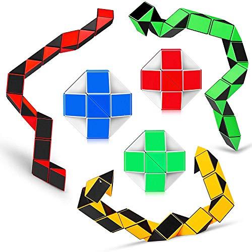 GOODLQ Speed Cube Schlangen Herrscher Twisty Fidget Cube Puzzle Pack Stickerless Magic Schlangenspiel Toys Kollektion Brain Teaser Kids (24 Teile 5PCS)