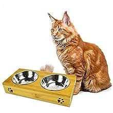MightyDuty Erhöhung für Futternäpfe aus Bambusholz mit 2 Edelstahlnäpfen, für Futter und Wasser, für Hunde und Katzen