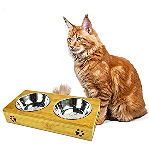 MIGHTYDUTY Raised Pet Bowls Food and Water with 2 Stainless Steel Bowls Dog Cat Elevated Bamboo Non-Slip Stand Feeder Dishes