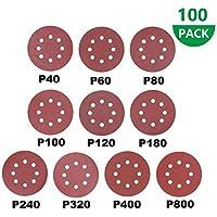 100 pcs Discos de Lija, 125mm Papeles de Lija Abrasivos con 8 Agujeros, Durable para Lijadora Excéntrica, Seco, Cambio Rápido(40-800mm)
