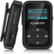 Mini Reproductor de MP3 Sport Bluetooth 4.0 con Clip KLANGTOP Reproductor de Música 8G 30 Horas Reproducción de Grabación FM Radio Walkman Color Pantalla