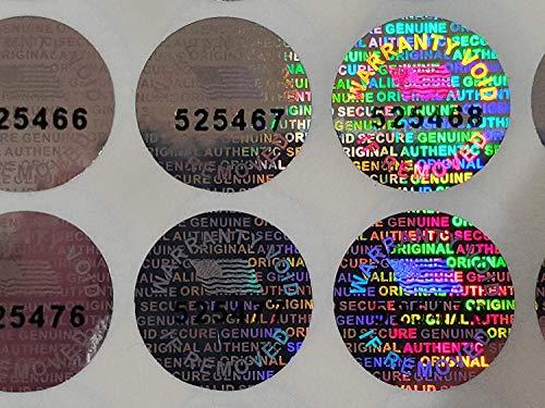 Dealimax Hologramm-Etiketten mit Seriennummer 14 mm (0,53 Zoll) silber