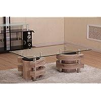 Couchtisch Mit 2 Hocker 130x70 San Remo Eiche Hocker Glas Tisch Holz  Garnitur Beistelltisch