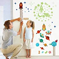 OurWarm Planets Rocket Height Growth Chart Wall Sticker + Glow in the Dark Stickers, Height Chart for Kids Nursery Bedroom