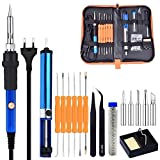#5: TechTest Soldering Iron Kit With Adjustable Temperature Welding Iron, 5Pcs Tips, Desoldering Pump, 2Pcs Tweezers, And 6Pcs Aid Tools In Pu Carry Bag