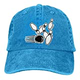 Mens/Womens Bowling Strike Cotton Denim Baseball Cap Adjustable Hip-hop Cap