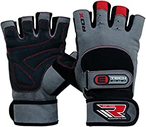 RDX Weight Lifting Gym Gloves, Supple and Amara Fabric, Foam & Gel padded Half Finger Multi-Colored, Sweat Control Lining, Wrist Wrap-Around Strap with Quick-EZ Velcro tab, Double Wrist Support, Gym Weight Lifting Cross Training Bodybuilding Fitness Workout Exercise Glove for Men, Adults