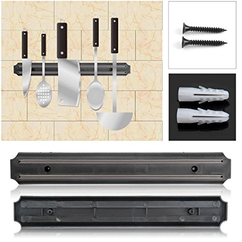 SMARTSTORE 38CM Wall Mounted MAGNETIC STRIP KNIFE RACK -Utensil Storage Rack, Ideal For Kithcen, Store TOOLS in Garages & Workshops