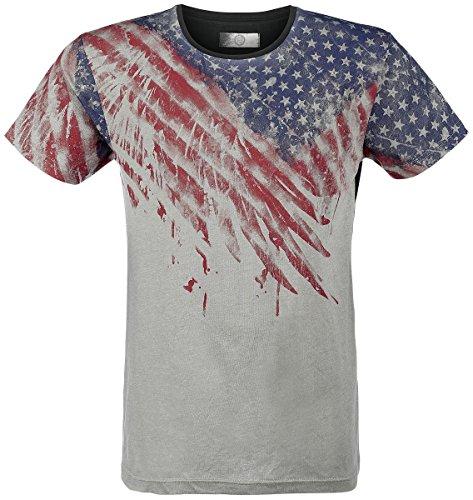 R.E.D. by EMP US Flag Shirt T-Shirt grigio chiaro/nero XXL