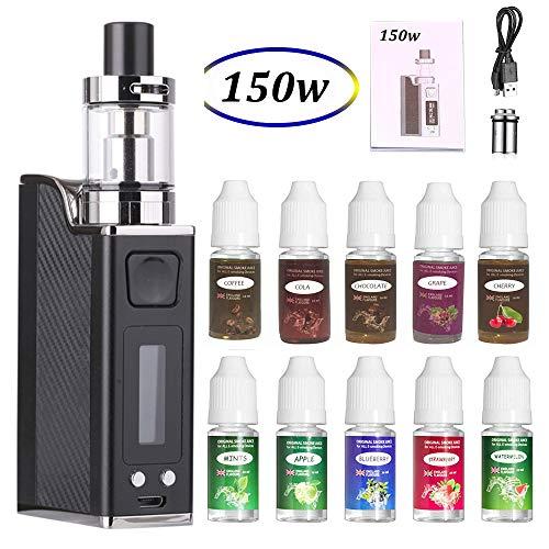 E Zigarette Shisha Starter Set 150W Box Mod Kit und 10x10ml E liquid,1500mah Akku + 2ml Top Refill Verdampfer + 0.3 Ohm Verdampferköpfe Kein Nikotin Schwarz