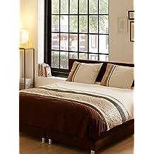100 por ciento algodón Descanso King Size/edredón de satén con bordados, marrón