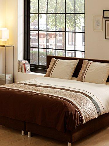 Descanso-Size - 100 Prozent Baumwolle/Satin Bettwäsche mit Stickereien, Braun (Baumwolle Bettwäsche Prozent 100)