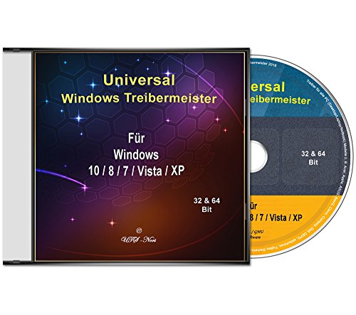 Universal Treiber-Meister CD/DVD für Windows 10 / 8 / 7 / Vista / XP (32 & 64 Bit) alle PC & Laptop Modelle z. B. Acer, Apple, ASUS, BenQ, Clevo, Compaq, Dell, DEPO, eMachines, Fujitsu Siemens, Gateway, Gericom, Gigabyte, HP, IBM, Intel, K-Systems, Lenovo, LG, Matsushita, Medion, MSI, NEC, Packard Bell, Samsung, Sony, Toshiba.