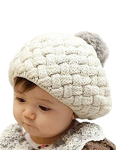 Feng Cute Baby Kids Girls Cute Warm Winter Knit Crochet Beanie Hat Cap (Rice)