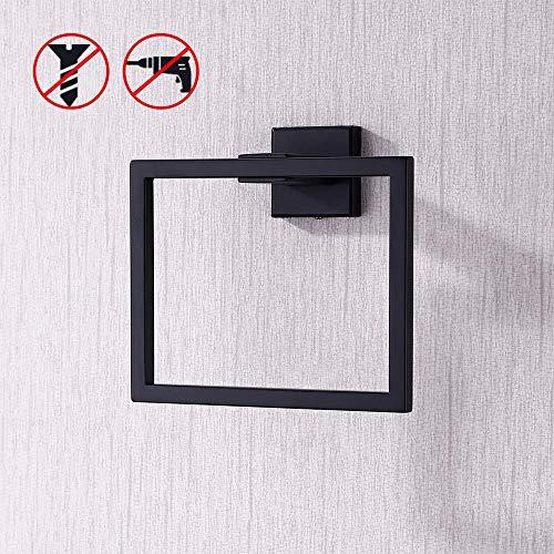 KES Handtuchringe Handtuch Ring Badezimmer Dusche Handtuch Hanger Inhaber Schwarz SUS 304 Edelstahl Stahl Moderne Square Stil Wandhalterung Matt, A2480-BK -
