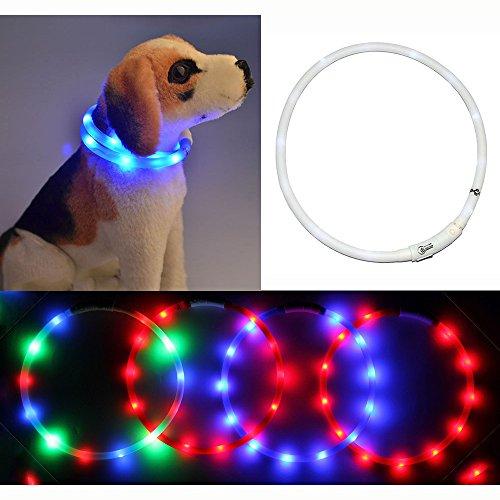 Collare Cane, Willful® Collare Cane Luminoso per Taglia Piccola Media Grande Cane USB Ricaricabile LED Illuminato Morbido per Notturno Cucciolo Femmina Maschio Bianco