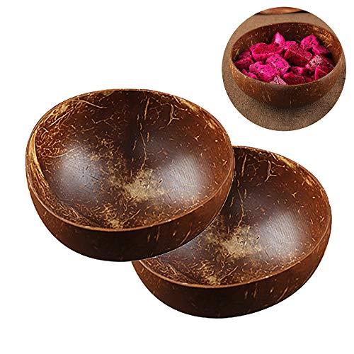 OurLeeme-Kokosnuss-Schüssel, 2 Satz natürliche handgemachte Kokosnuss-Schale langlebig leicht leicht sauber vegan freundlich zum Frühstück, Eis, Müsli, Obst, Joghurt -