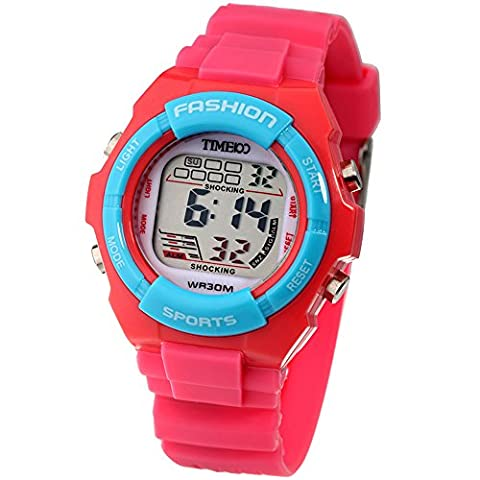 Time100 - Montre Digitale Bracelet PU LCD Sport Multifonctionnelle Dateur Chronomètre Reveil Fille Rouge - W40011L.02A