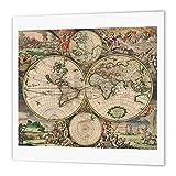 3dRose Carte du Monde 1689-quilt carré, Multicolore, X 15,2cm