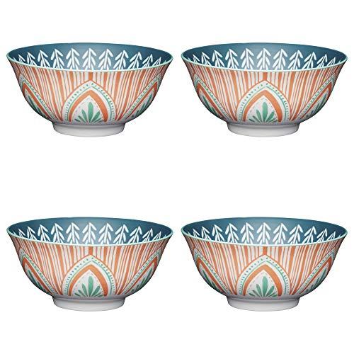 KitchenCraft ECMKCBOWL29SET Keramik-Schüssel-Set mit mediterranem Blätter-/Streifenmuster, Steinzeug